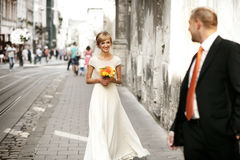 Luxury romantic happy bride and groom celebrating marriage on th Royalty Free Stock Photos