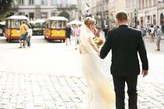 Luxury romantic happy bride and groom celebrating marriage on th Stock Photo