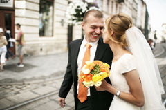 Luxury romantic happy bride and groom celebrating marriage on th Stock Photo