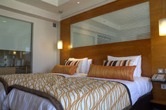 Luxury room. A well-furnished double bed in a luxury hotel stock images