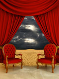 Luxury room on the desert. Luxury chairs and curtains open on desert view Royalty Free Stock Photo