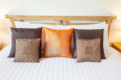 Luxury room setting with bed and pillows Stock Photography