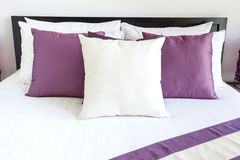 Luxury room setting with bed and pillows Stock Image