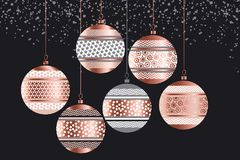Luxury rose gold xmas geometric baubles. For card, invitation, poster, header. Elegant Christmas abstract balls design element. New Year stock vector Royalty Free Stock Images