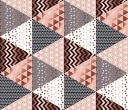 Luxury rose gold xmas geometric seamless pattern. For background, wrapping paper, fabric, backdrop. Elegant Christmas abstract patterns design element. New Year Royalty Free Stock Image