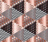 Luxury rose gold xmas geometric seamless pattern. For background, wrapping paper, fabric, backdrop. Elegant Christmas abstract patterns design element. New Year Royalty Free Stock Photos