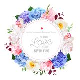 Luxury round floral vector design frame. Arranged from blue, pink and purple hydrangea, orchid, white peony, carnation and greenery. Beautiful spring wedding vector illustration