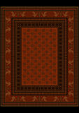 Luxury rug in burgundy shades with flowers. And stylized birds on the boarders Royalty Free Stock Photo