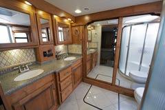 Luxury RV Bathroom. Luxury Motorhome RV Bathroom Interior. Large Coach Bathroom royalty free stock images