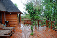Luxury Safari Accommodation. Luxury thatched log cabin and wooden deck in a safari park game reserve Royalty Free Stock Photo