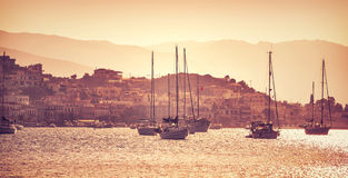 Luxury sail boats in sunset Stock Images