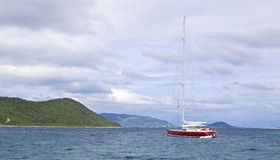 Luxury sailboat. Large luxury sailboat anchored in the waters of the British Virgin Islands Royalty Free Stock Photography