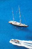 Luxury sailboat with azure sea Royalty Free Stock Photo