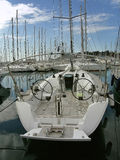 Luxury sailboat in the marina. Luxury sailboat anchored in the marina stock photography