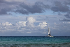 Luxury sailboat on sea Stock Image