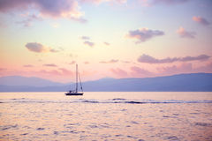Luxury sailboat in sunset light Royalty Free Stock Photography