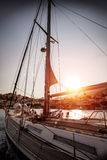 Luxury sailboat in sunset Royalty Free Stock Image