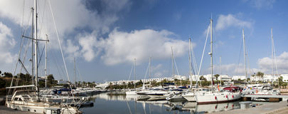 Luxury sailboats in the port of Cala D`or, Mallorca Royalty Free Stock Image