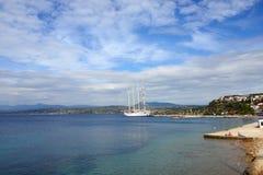 Luxury Sailfish Star Clipper in Navarino bay, Greece Stock Photo