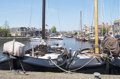 Luxury sailing ships are docked at the port of Lemmer. Stock Image
