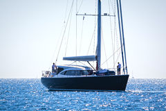 Luxury sailing yacht. Shot of a luxury sailing yacht at the aegean sea Stock Images