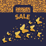 Luxury sale background with golden glittering butterflies. Royalty Free Stock Images