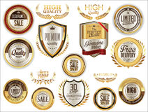 Luxury sale golden labels collection Royalty Free Stock Photos