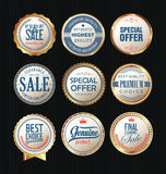 Luxury sale golden labels collection Stock Image