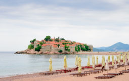 Luxury Sand Beach near Island and Resort Sveti Stefan, Montenegro. Balkans, Adriatic sea, Europe. Royalty Free Stock Images
