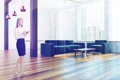 Luxury Scandinavian style living room corner woman Royalty Free Stock Photography