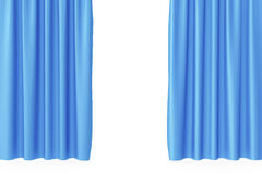 Luxury scarlet blue silk velvet curtains realistic. 3d rendering Royalty Free Stock Photos