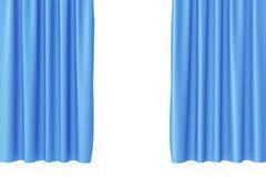 Luxury scarlet blue silk velvet curtains realistic. 3d rendering. Luxury scarlet blue silk velvet curtains realistic, 3d rendering Royalty Free Stock Photos