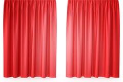 Luxury scarlet red silk velvet curtains realistic. 3d rendering Stock Photos