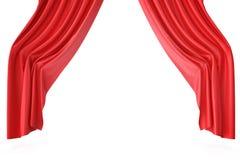 Luxury scarlet red silk velvet curtains realistic. 3d rendering Stock Images