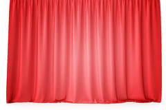 Luxury scarlet red silk velvet curtains realistic. 3d rendering Royalty Free Stock Photos