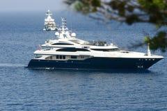 Luxury on sea. Luxury yacht near majorca coast Royalty Free Stock Image