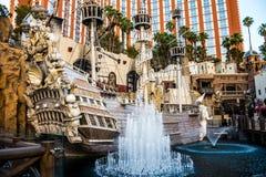 Luxury sea scenery when entering the casino and hotel Treasure Island. Las Vegas, Nevada, USA - June 18, 2017: Treasure Island Hotel and  Casino and Grand Canal Royalty Free Stock Photo