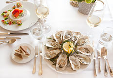 Luxury seafood table Royalty Free Stock Image