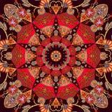 Luxury seamless ornament with mandala - star, flowers and little butterflies. Bandana print, ceramic tile, napkin, square rug stock illustration