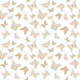 Luxury seamless pattern with golden butterflies. Luxury seamless pattern background with golden filigree butterflies isolated on white. For wedding invitation Royalty Free Stock Photography
