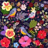 Luxury seamless pattern with cute cartoon birds and bright flowers. Print for fabric, wallpaper, curtain.  stock illustration