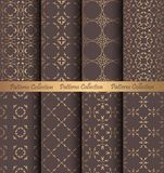 Golden Patterns Forged Vintage Design. Luxury seamless patterns collection. Golden vintage design elements. Elegant weave ornament for wallpaper, fabric, paper Stock Photography