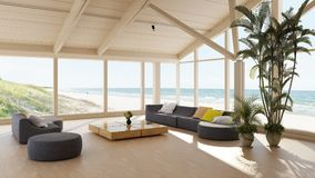 Luxury seaside villa with spacious living room Royalty Free Stock Photos