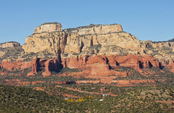 A Luxury Sedona Neighborhood Dwarfed By Red Rocks Royalty Free Stock Photo