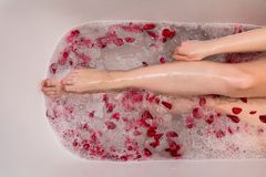 Romantic Valentines day bath with rose petails, woman in home spa, luxury self care stock photo