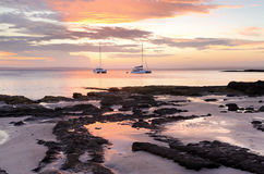 Luxury and serenity catamarans at Cabbage Tree Beach Jervis Bay Royalty Free Stock Images