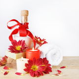 Luxury Set for Bath with Flowers and Candles Royalty Free Stock Image