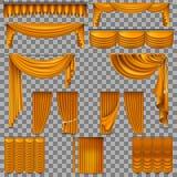 Luxury set of golden velvet silk curtains. EPS 10 Royalty Free Stock Photos
