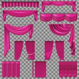 Luxury set of golden velvet silk curtains. EPS 10 Stock Images