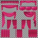 Luxury set of golden velvet silk curtains. EPS 10 Royalty Free Stock Photography